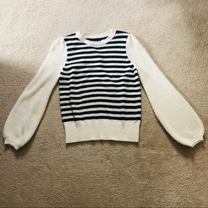 Who What Wear Striped Balloon Sleeve Sweater